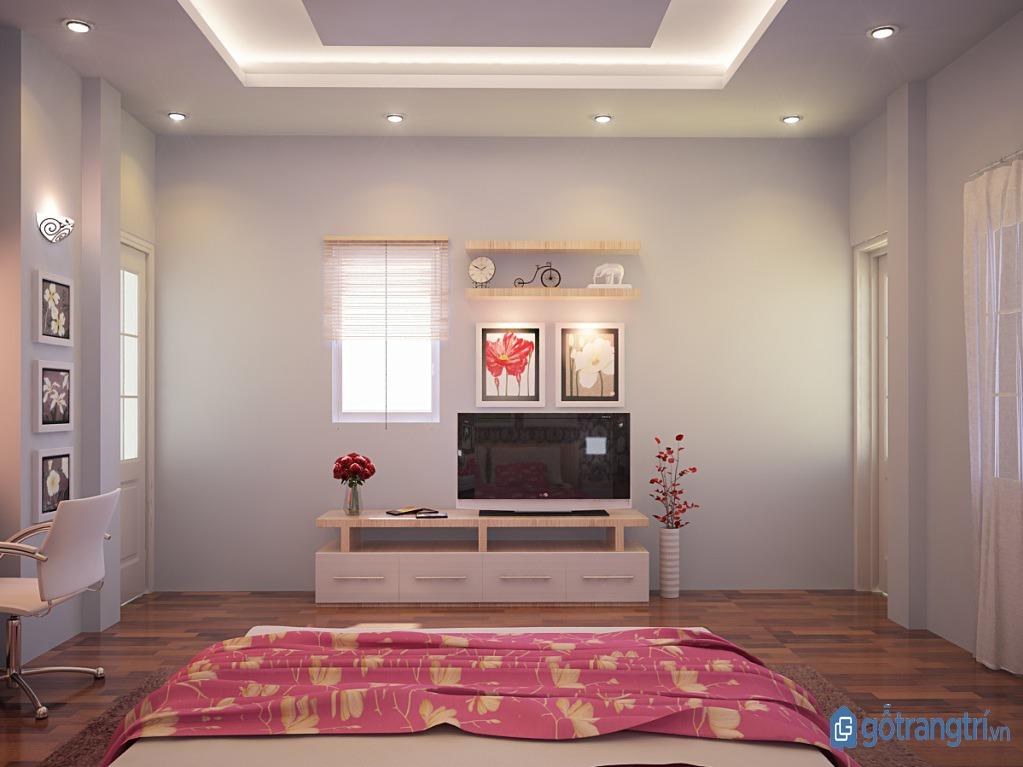 Chọn mua kệ tivi phòng ngủ có thiết kế đơn giản và kích thước nhỏ gọn. (ảnh: internet)