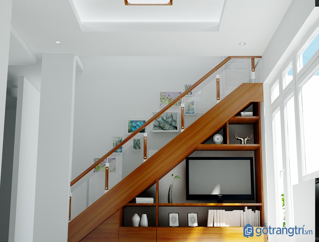 Trang trí chân cầu thang bằng tủ ti vi tiết kiệm không gian. (ảnh: internet)