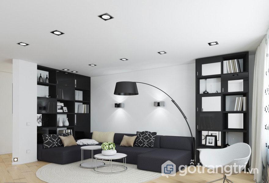 Việc phối màu đen trắng - Cặp màu sắc đối lập tương phản với nhau mang đến những hiệu ứng mạnh, thẩm mỹ cao cho không gian nội thất phòng khách - Ảnh: Internet