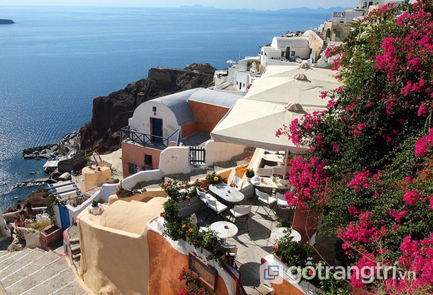 Kiến trúc độc đáo tại Santorini đẹp hơn khi được tô điểm bởi giàn hoa giấy xinh tươi - Ảnh: Internet