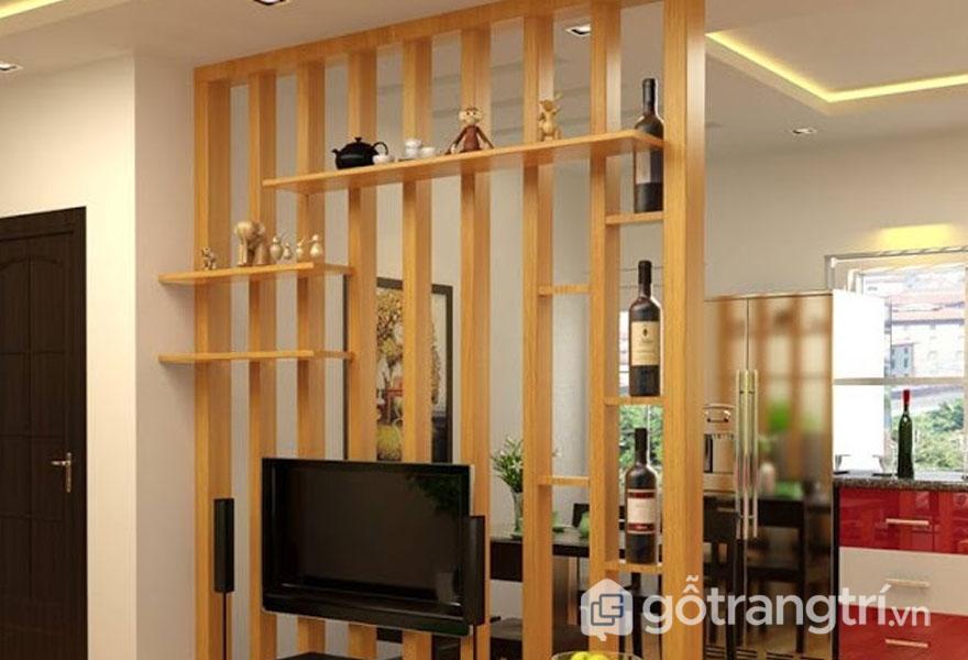 Hệ thanh lam gỗ trang trí được sử dụng để làm vách ngăn phòng (Ảnh: Internet)