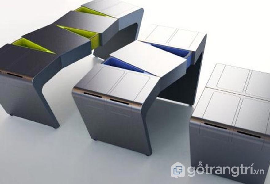 Chiếc bàn có thể biến đổi linh hoạt số lượng các ngăn kéo chứa đồ (ảnh internet)