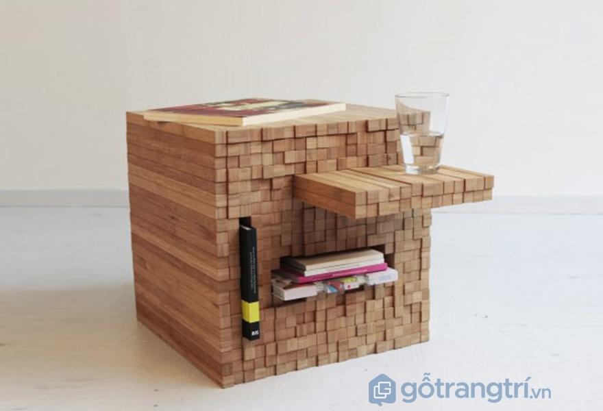 Chiếc bàn là 1 khối lập phương được xếp từ những thanh gỗ nhỏ (ảnh internet)