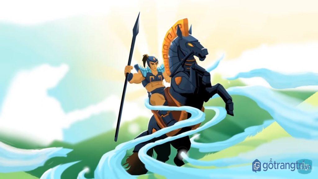 Lễ hội làng Phù Đổng: Tranh vẽ cảnh Thánh Gióng cưỡi ngựa sắt ra trận. (Ảnh: Internet)