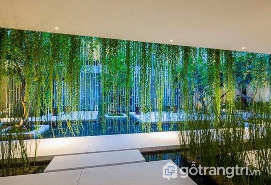 Kiến trúc spa bên trong của Naman Pure Spa tràn ngập sắc xanh - Ảnh: Internet