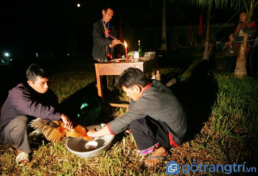 Người Pà Thẻn cắt tiết gà chuẩn bị lễ cúng (Ảnh: Internet)