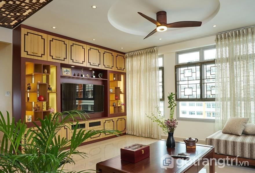 Thiết kế hòa hợp với thiên nhiên trong căn hộ thiết kế theo phong cách Á Đông (ảnh internet)