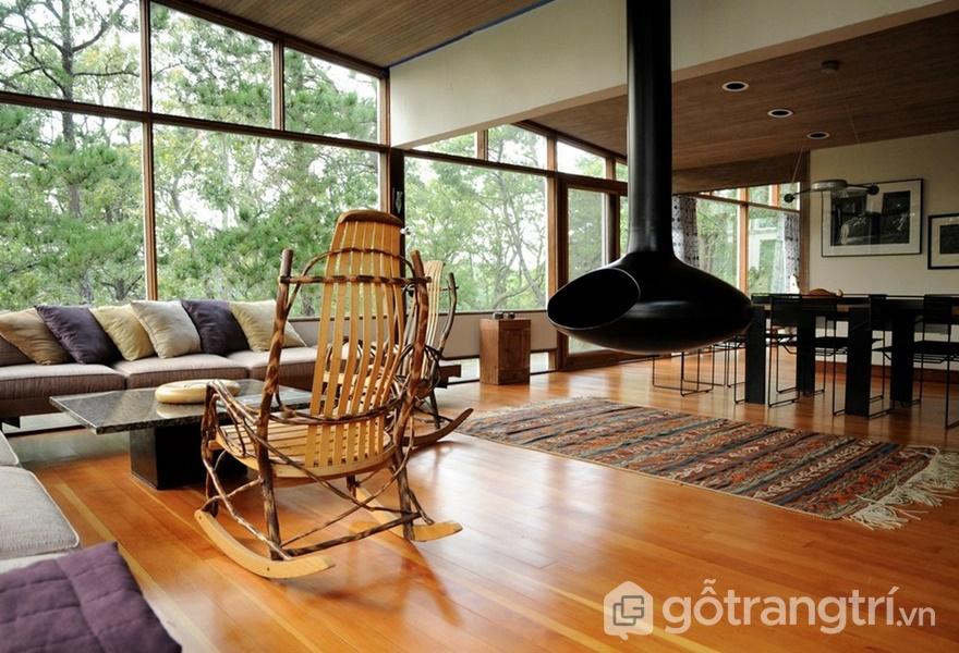 Thiết kế hiện đại kết hợp với các chất liệu tự nhiên (ảnh internet)