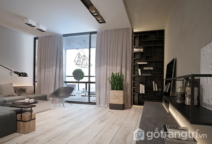 Phong cách hiện đại tự nhiên với gam màu trung tính được sử dụng trong căn hộ (ảnh internet)
