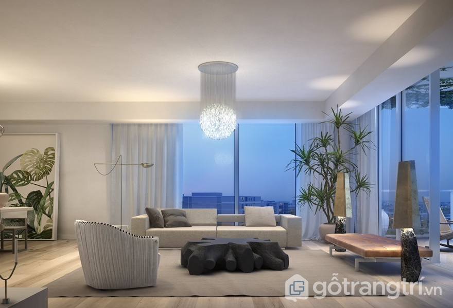 Ánh sáng là yếu tố quan trọng của phong cách hiện đại tự nhiên trong thiết kế nội thất (ảnh internet)