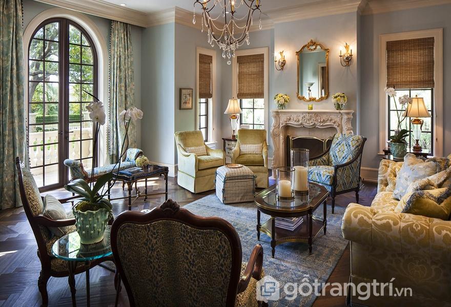 Không gian phòng khách mang phong cách nội thất Renaissance (ảnh internet)