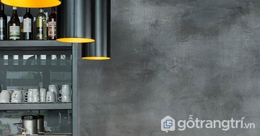 Sơn tường giả bê tông giúp căn phòng đẹp hơn theo phong cách cổ điển - Ảnh: Internet
