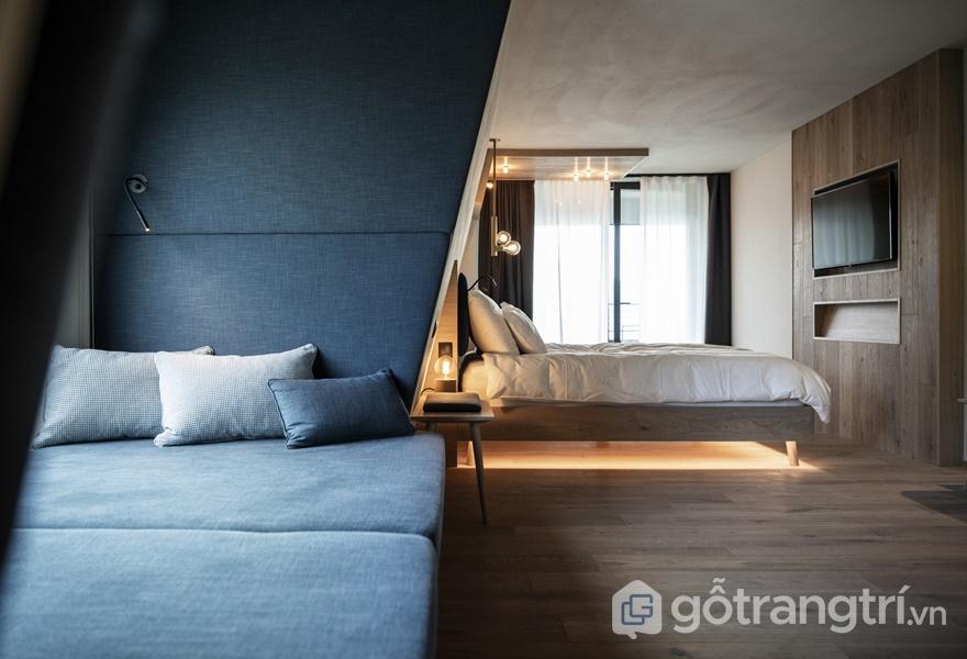 Thiết kế khách sạn với một số phòng nghỉ lấn hẳn ra phía ngoài (ảnh: ELLE DÉCOR)