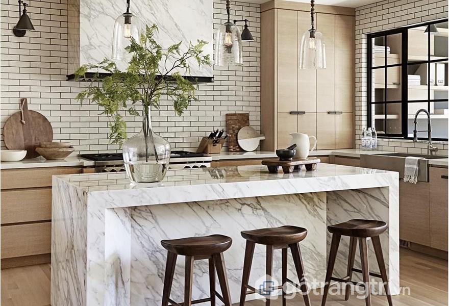 Ứng dụng đồng thau và đá cẩm thạch trong gian bếp (ảnh internet)