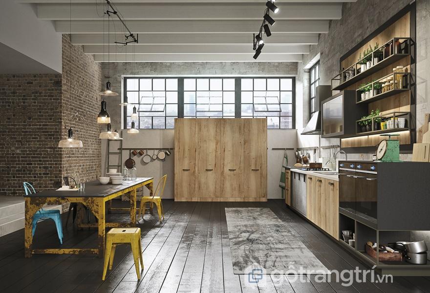 Màu gỗ Cérused được ứng dụng trong gian bếp (ảnh internet)