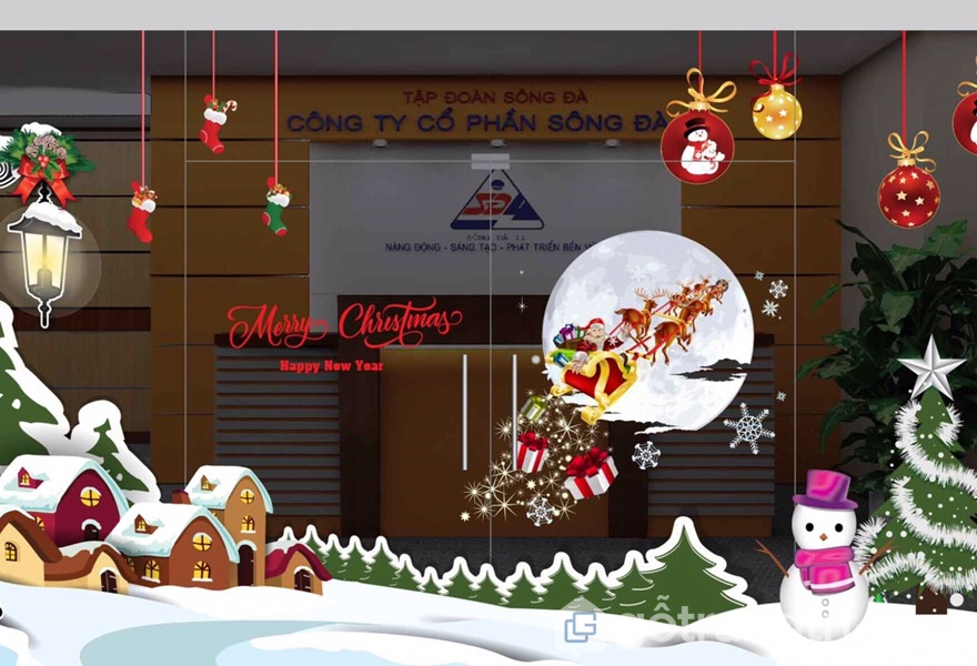 Trang trí văn phòng và cửa kính đón Noel (Ảnh Internet)