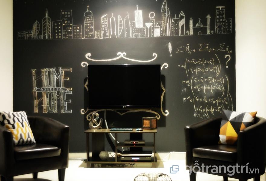 Mảng tường màu đen ấn tượng kết hợp với màu nội thất (ảnh internet)