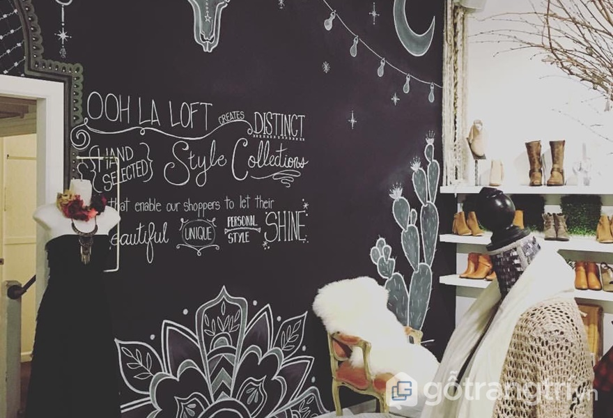 Bức tường bằng bảng đen trong phòng ngủ (ảnh internet)