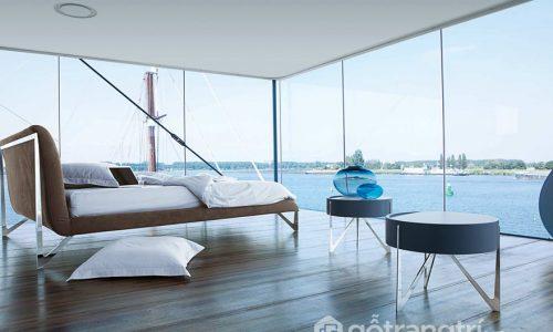 """Phòng ngủ """"sang chảnh"""" với những vách tường bằng kính cường lực"""