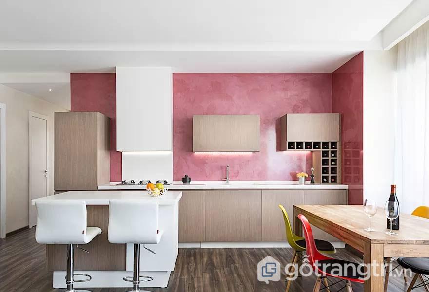 Sơn tường bếp mang đến vẻ đẹp đơn giản chính là sơn phủ Acrylic - Ảnh: Internet