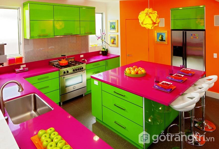 Xu hướng thiết kế nội thất căn bếp nhiều màu sắc thể hiện sự ngộ nghĩnh, cá tính của chủ nhà (ảnh internet)