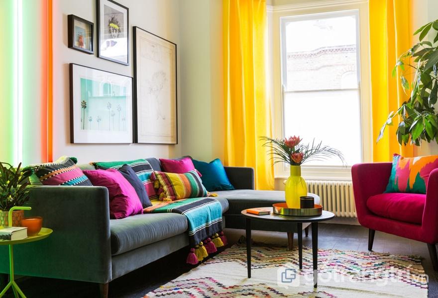 Xu hướng thiết kế nội thất pha trộn các màu sắc sặc sỡ được sự đoán sẽ lên ngôi năm 2019 (ảnh internet)
