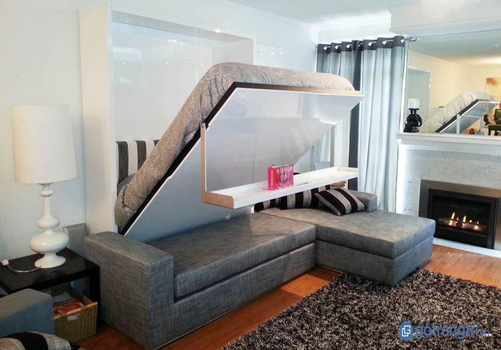 Giường ngủ đẹp kết hợp ghế sofa cho căn hộ nhỏ. (ảnh: internet)