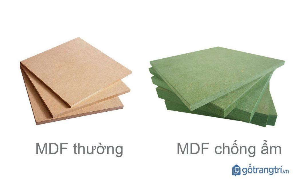 Phân biệt gỗ MDF thường và gỗ MDF chống ẩm bằng mắt thường. (ảnh: internet)