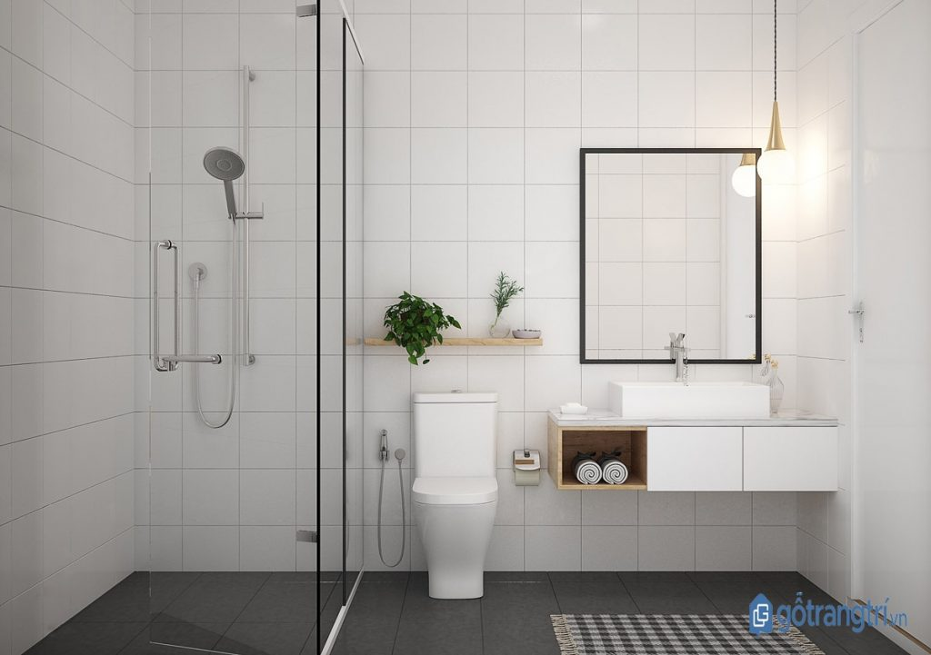 Phòng tắm gia đình hiện đại phong cách nội thất tối giản. (ảnh: internet)