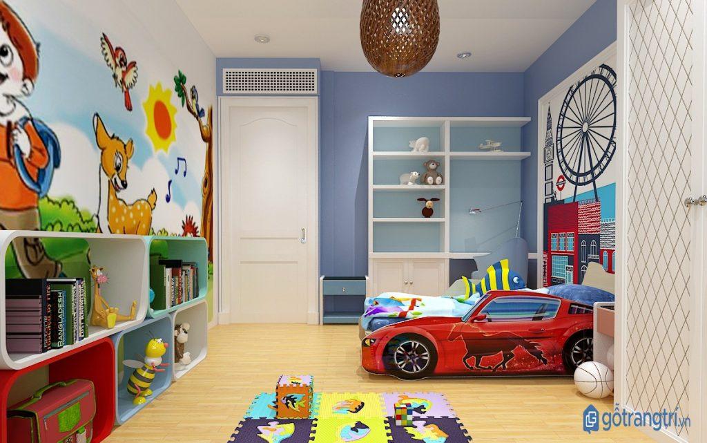 Trang trí phòng ngủ cho bé theo khu vực để bé học cách sắp xếp đồ dùng cá nhân. (ảnh: internet)