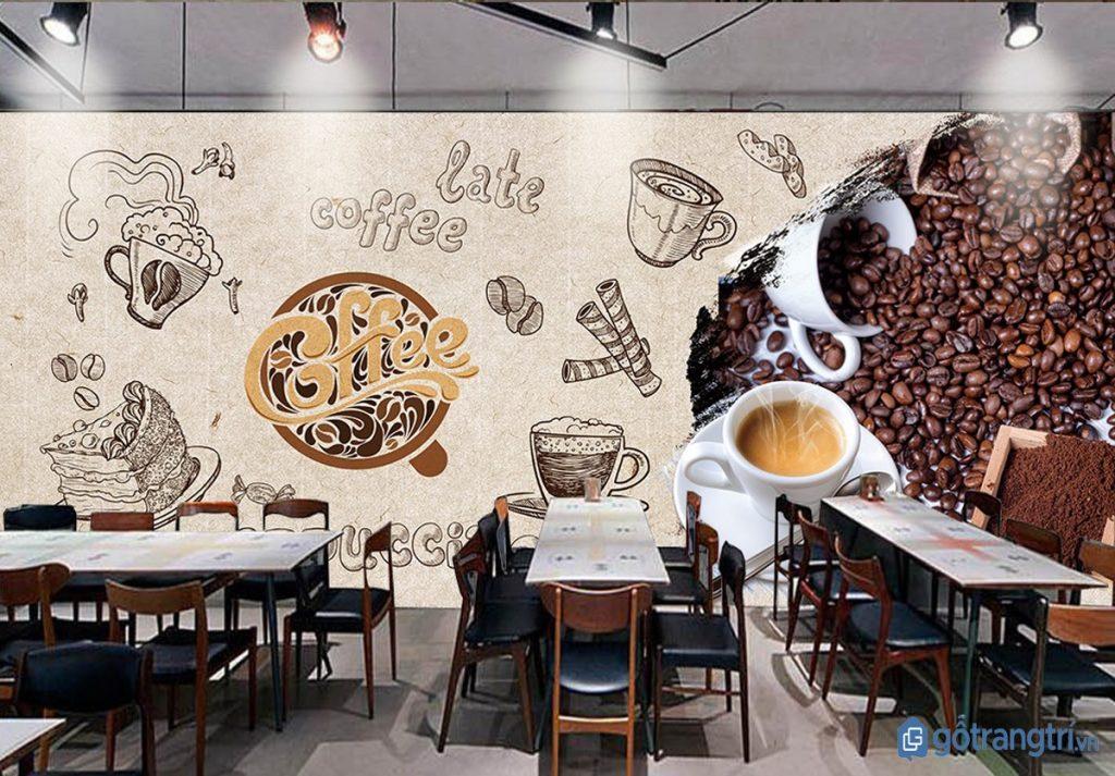 Quán cà phê đẹp với bức tường trang trí ấn tượng. (ảnh: internet)