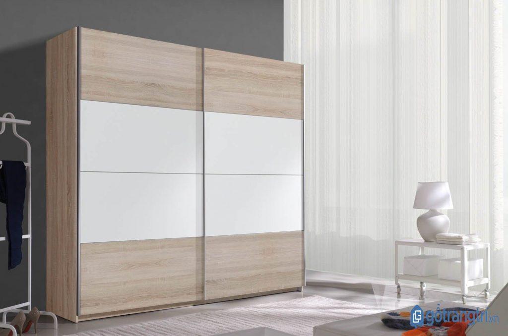 Tủ quần áo cửa lùa hiện đại bằng gỗ MDF. (ảnh: internet)