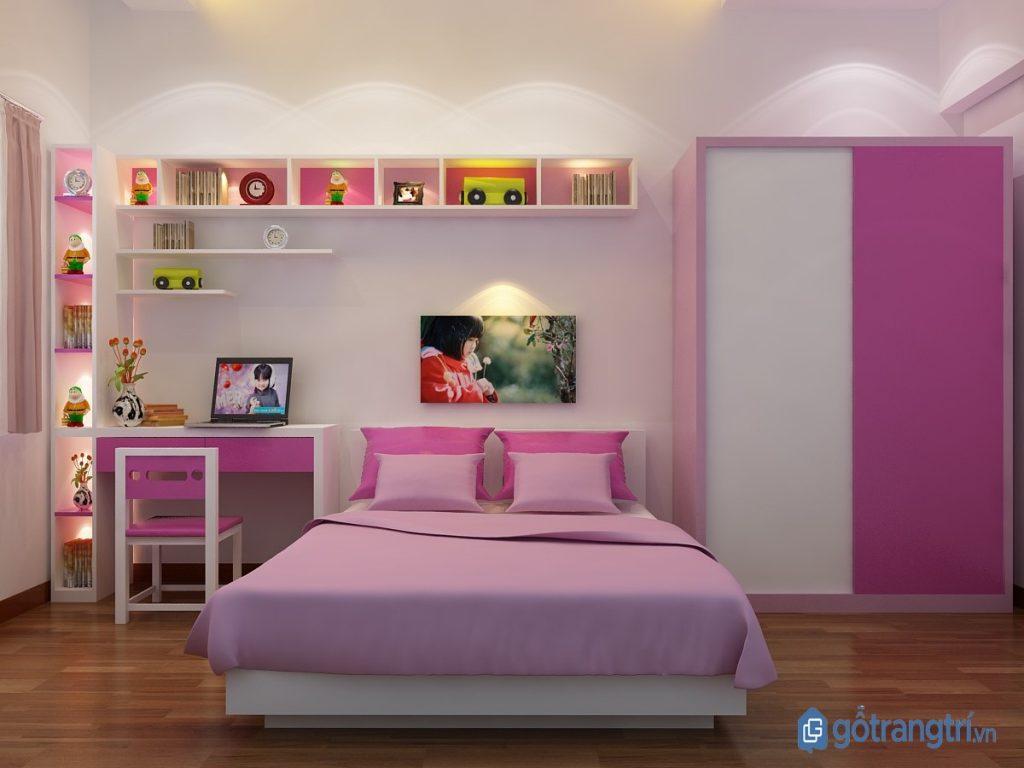 Giường ngủ đẹp bằng nhựa kết hợp tủ quần áo cho phòng ngủ bé gái. (ảnh: internet)