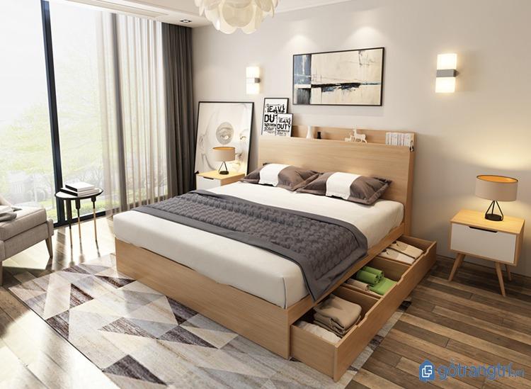 Mẫu giường ngủ đẹp hiện đại có thêm ngăn tủ lưu trữ tiện dụng. (ảnh: internet)