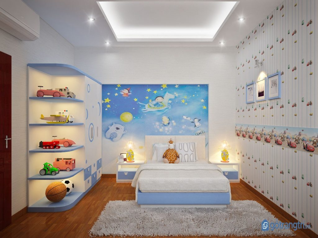 Trang trí phòng ngủ bé trai bằng hiệu ứng ánh sáng rực rỡ, vui nhộn. (ảnh: internet)