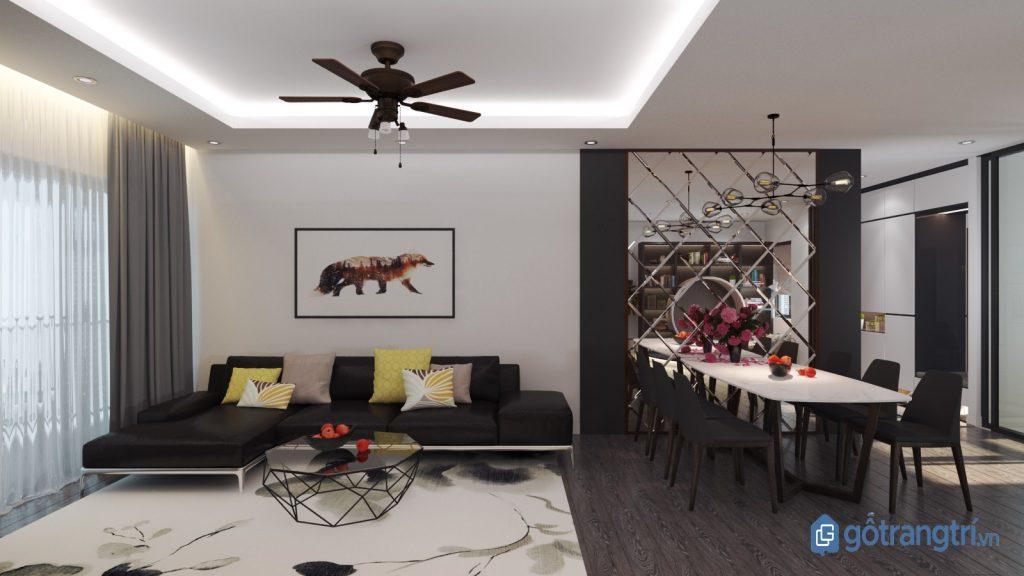 Thiết kế phòng khách theo phong cách nội thất tối giản với tông màu đen trắng chủ đạo. (ảnh: internet)