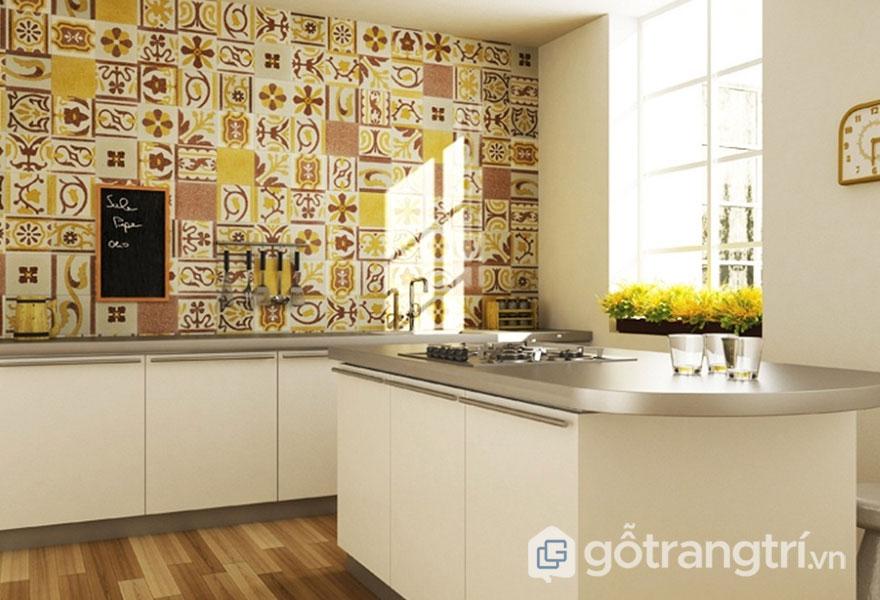 Gạch ốp tường họa tiết hình học tinh tế với thiết kế Art Deco (Ảnh: Internet)