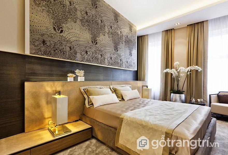 Thiết kế Art Deco cho căn phòng ngủ đơn giản với tranh treo tường (Ảnh: Internet)