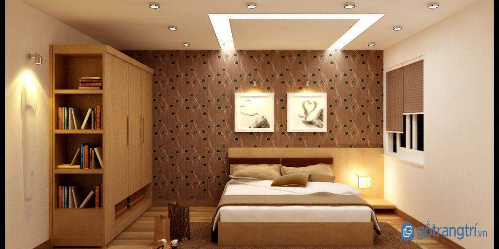 Kết hợp đèn trần, đèn cây và đèn gắn tường cho phòng ngủ thêm ấm cúng. (ảnh: internet)