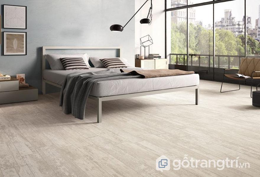 Gạch vân gỗ tự nhiên cho không gian phòng ngủ (Ảnh: Internet)