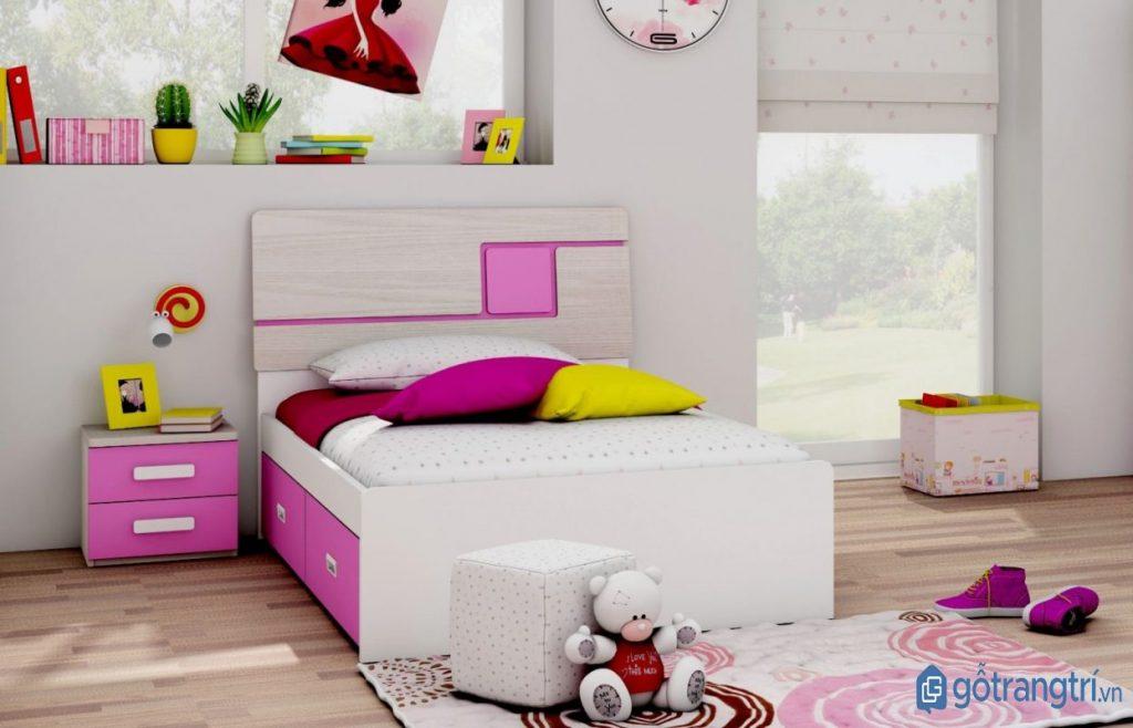 Mẫu giường ngủ tone màu hồng trắng cho phòng ngủ bé gái. (ảnh: internet)