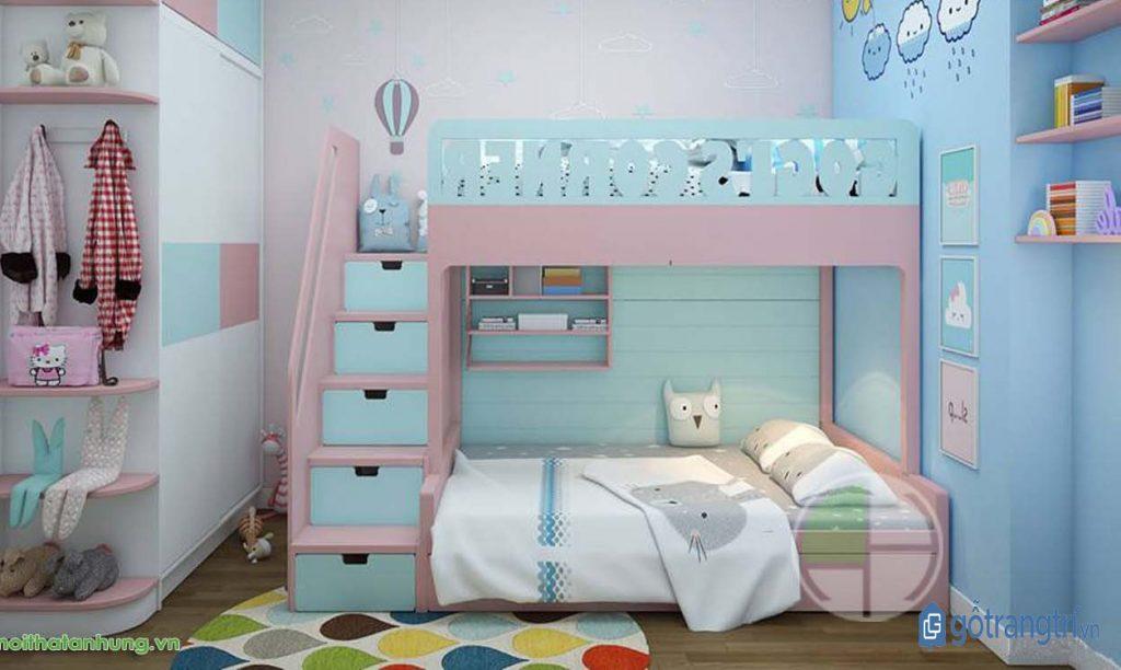 Mẫu giường tầng dễ thương cho phòng ngủ bé gái đẹp. (ảnh: internet)