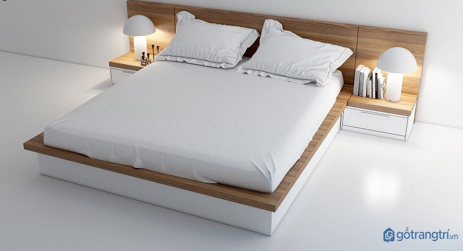 Giường ngủ đẹp bằng gỗ nhân tạo thiết kế đơn giản, hiện đại. (ảnh: internet)