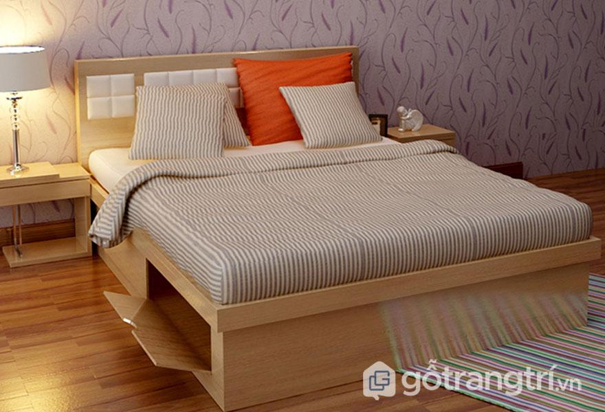 Giường hộp làm từ gỗ keo phủ màu tươi sáng (Ảnh: Internet)