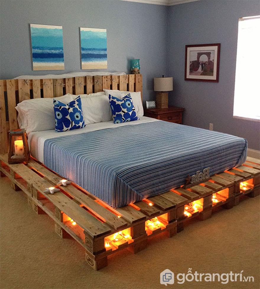 Giường ngủ làm từ gỗ pallet (Ảnh: Internet)
