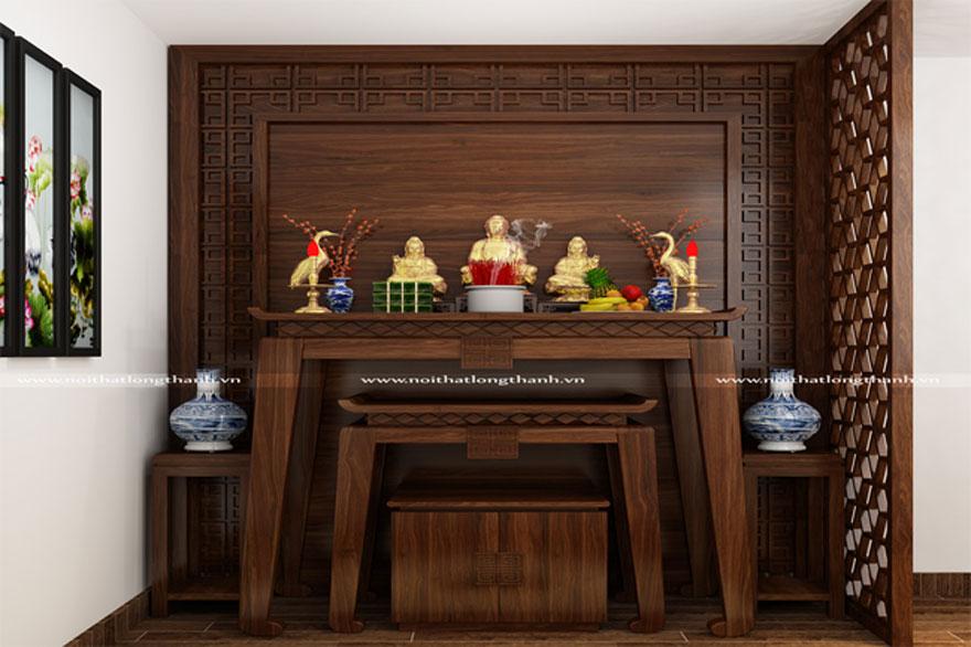 Bàn thờ gia tiên đươc làm từ gỗ sồi kiểu dáng đơn giản (Ảnh: noithatlongthanh.vn)