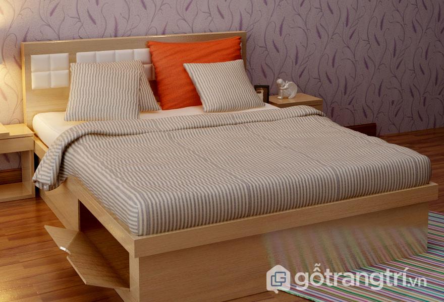 Giường ngủ gỗ sồi có hộp lưu trữ đồ tiện dụng (Ảnh: Internet)