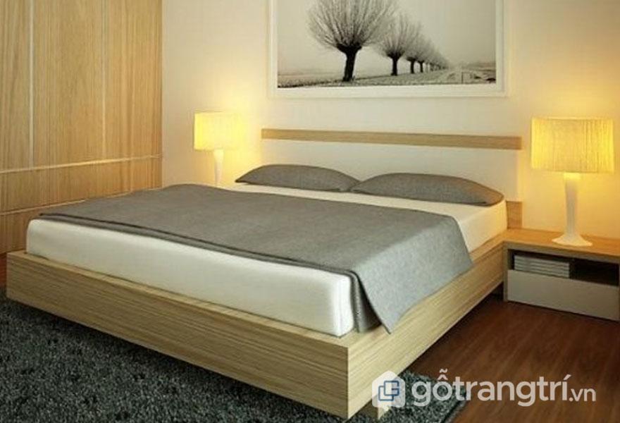 Giường ngủ gỗ sồi hiện đại (Ảnh: Internet)