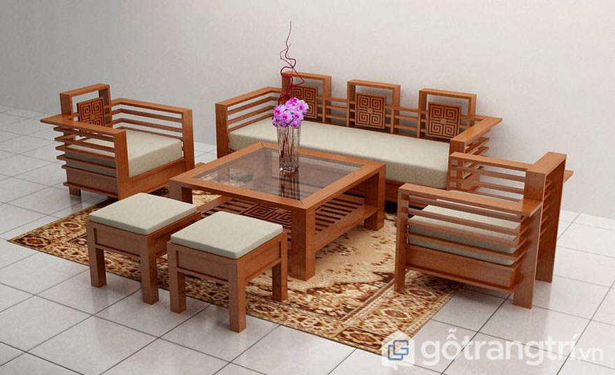 Bộ ghế sofa trường kỷ gỗ sồi phòng khách (Ảnh: Internet)