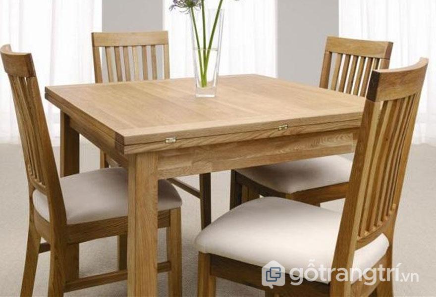 Bộ bàn ăn gỗ sồi bọc da (Ảnh: Internet)